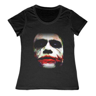 Damen Joker Gesicht Heath Ledger Batman Dark Knight T-Shirt Halloween Arkham