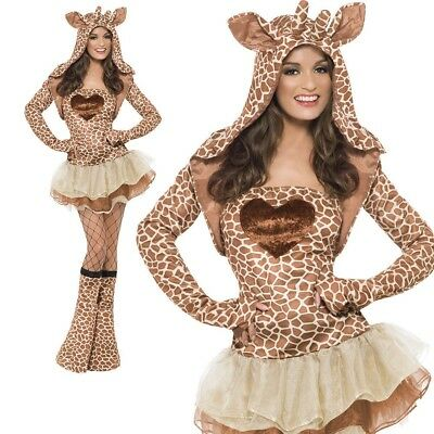 Giraffe Costume Adult Sexy Animal Fancy Dress Womens Outfit UK 4 - 18 New