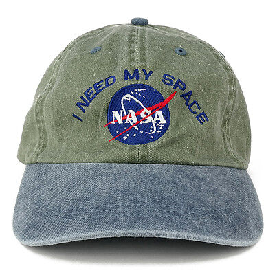 NASA I NEED MY SPACE Embroidered Washed Cotton Cap - Olive Navy Hat FREE - Washed Caps Olive