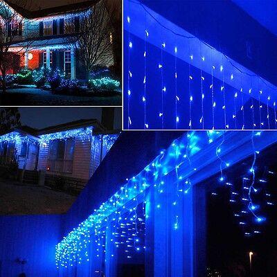 US 10FT LED Blue String Lights Garden Wedding Party Decor Icicle Curtain 110V
