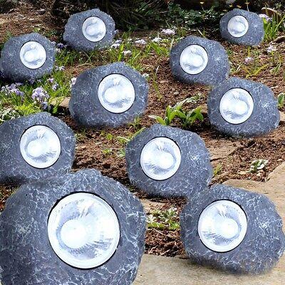 10er Set LED Solar Leuchten Steine Teich Dekoration Beleuchtung Aussen Lampen