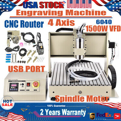Usb 4axis 1.5kw 6040 Cnc Router Engraver Drill Machine Diy 3d Water-cooling Usa