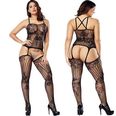Plus Size Women Sexy Fence Net Bodystocking Fishnet Lingerie Cross In - Plus Size Fish Net Stockings