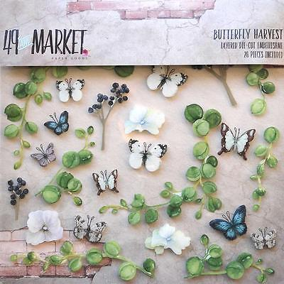 49 AND MARKET- LAYERED DIE-CUT EMBELLISHMENTS 12 X 12- BUTTERFLY HARVEST (26/PC)