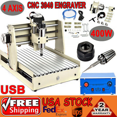 Usb 4 Axis Cnc Router 3040 Engraver Drilling Desktop Mill Cut Machine 400w Vfd