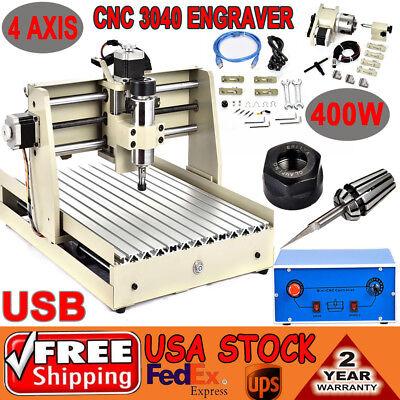 Usb 4 Axis Cnc Router 3040 Engraver Drilling Desktop Mill Cut Machine 400w Vfd
