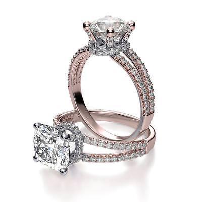 Natural Cushion Cut Cut Split Shank Collar Pave Diamond Engagement Ring - GIA  2