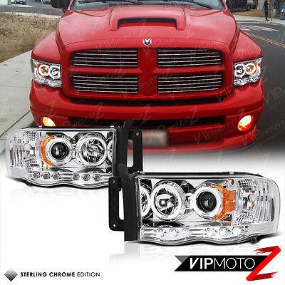 2002-2005 Dodge Ram 1500 Chrome Halo LED Projector Headlight 03-05 Ram 2500 3500