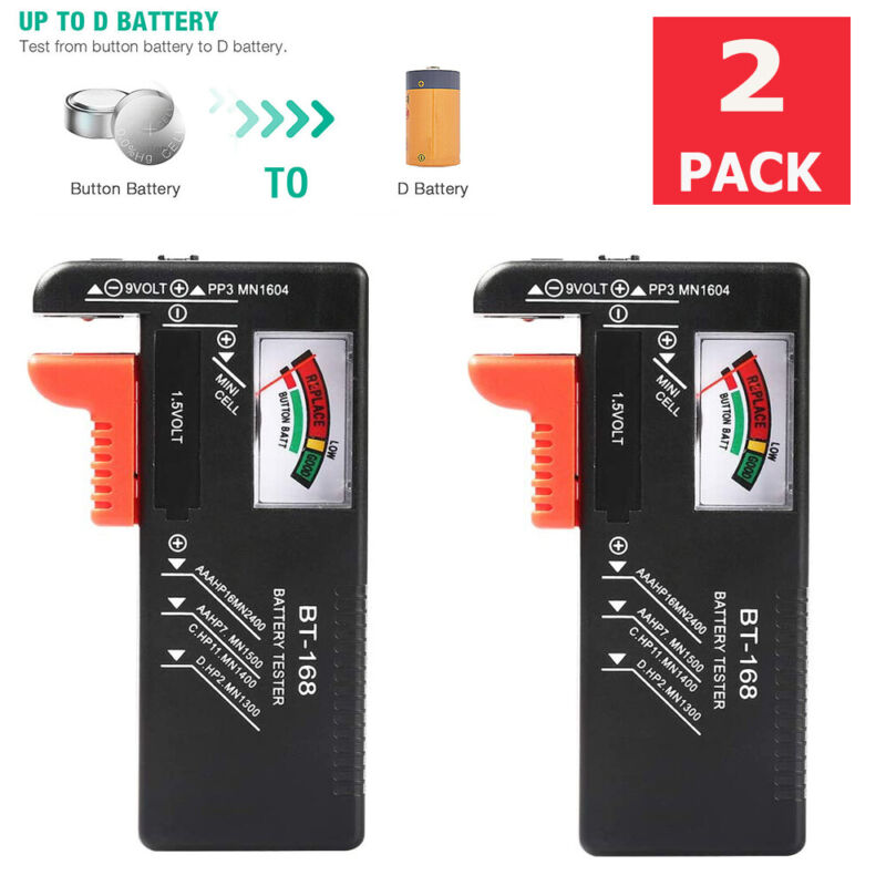 2 Pack BT-168 Battery Tester Checker for AA AAA C D 9V Button Cell Batteries