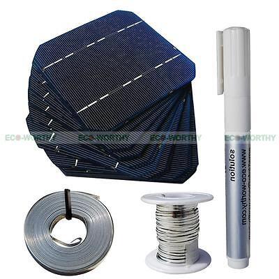 20PCS 5x5 Mono Solar Cell DIY Kit T&B Wire Flux Pen Sunpower for DIY 50W Panel