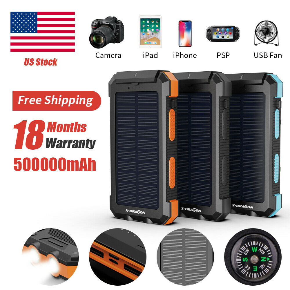 Waterproof 500000mAh Dual USB Solar Power Bank Battery Charg