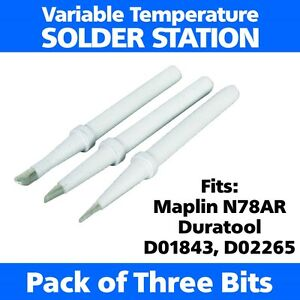 3-x-Spare-Soldering-Iron-Tips-Bits-Fits-Maplin-N78AR-Duratool-D01843-D02265