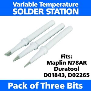 3 x Spare Soldering Iron Tips Bits Fits Maplin N78AR Duratool D01843 D02265