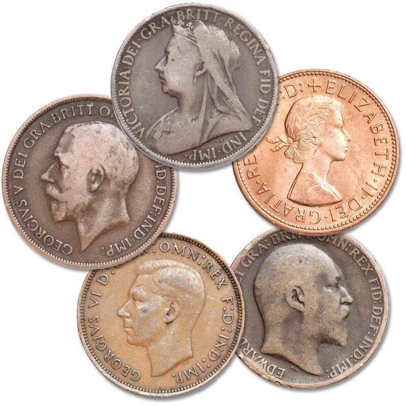1895-1967 British Large Penny 5-Coin Set