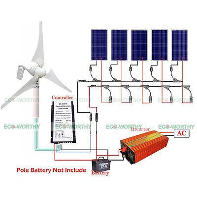 Dc 12V   24V 400W Wind Energy Turbine Generator W  3 Blades 5X 100W Solar Panel