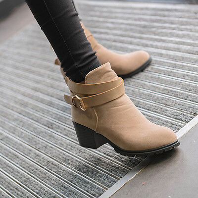 Women Winter Snow Low Heel Ankle Boot Buckle Wedge Martin Boots Ladies Shoes  1