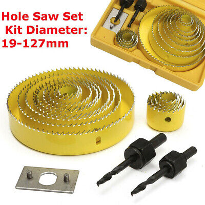 16Pcs Carbon Steel 13 Hole Saw 19-127mm Wood Working Metal Holesaw Cutting (Carbon Steel Hole Saw Set)