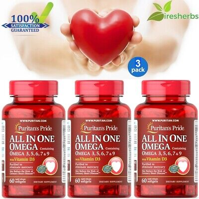 3pc#1 BEST ALL IN ONE OMEGA WITH VITAMIN D3 HEART HEALTH SUPPLEMENT 180