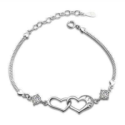 Bridal Clasp Bracelet - Silver Heart Bracelet Crystal Chain Women Charm Clasp Rhinestone Wedding