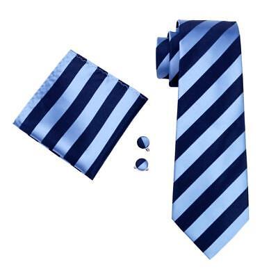 USA Navy Blue Striped Tie Mens Tie Woven Silk Necktie Set Hanky Cufflinks (Mens Striped Woven Tie)