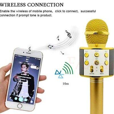 New Stereo KTV Wireless Player Singing Karaoke Microphone Speaker US Bluetooth