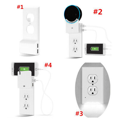 1/2/4X USB Power Wall Plate Snap-On Charger Replacement Electrical Outlet Cover ()