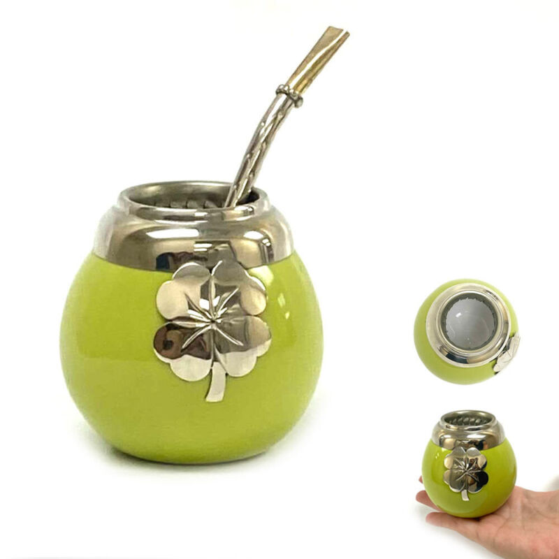 Ceramic Mate Gourd Argentina Mate Tea Cup Thick Bombilla Straw Drink Green Set