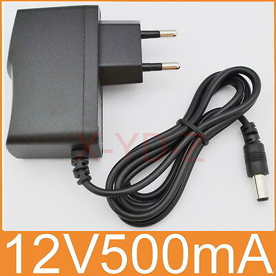 AC 100V-240V Adapter DC 12V 500mA Switching power supply 0.5A EU 5.5mm x 2.1mm Switching Ac Adapter