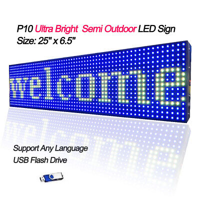 25x 6.5 Full Color Semi Outdoor Led Sign Programmable Scrolling Message Board