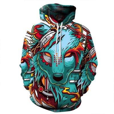 Wolf Demon 3D Graphic Cool Unique Halloween Scary Cosplay Hoodies for Mens Coat (Demon Wolves Halloween)