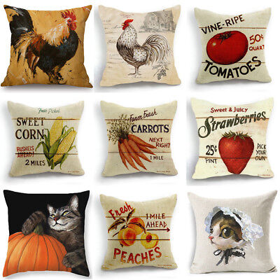 - 18x18'' Cushion Cover Linen Throw Pillow Case Strawberry Fruit Farm Home Decor