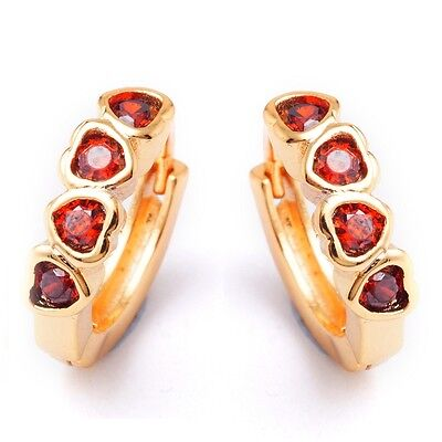 Sweet Four Red Heart Cubic Zircon Gold Plated Lady Girl Hoop Earrings Ear Stud