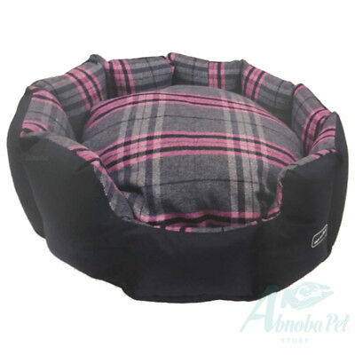 Hem & Boo Dog Pup Tartan Check Padded Oval Snuggle Beds Stylish Design Pink/Grey Designer Oval Dog Bed