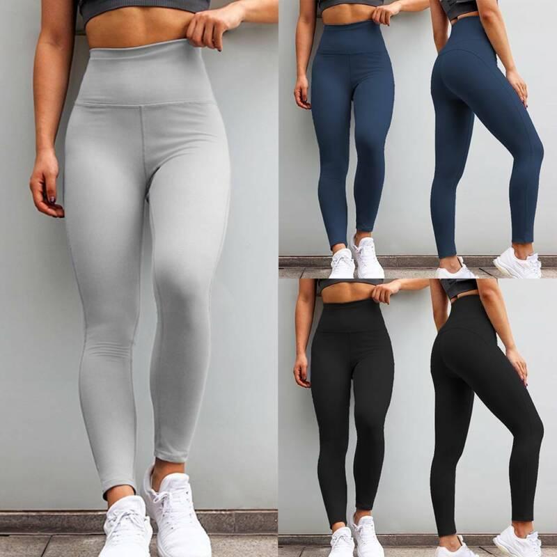 Women YOGA Pants Basic Long Fitness Slim Leggings Gym Stretch Sport Trousers