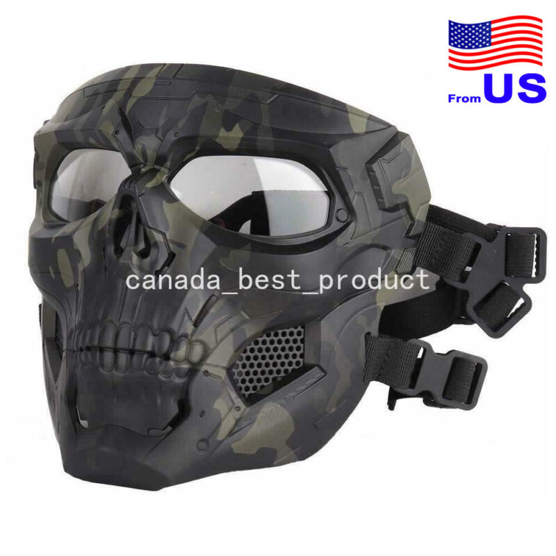 Airsoft Paintball Cosplay Halloween Adjustable Skull Full Face Mask MCBK USA
