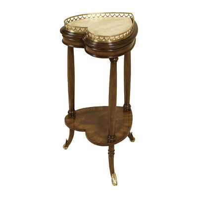 Maitland-Smith 8119-32 Two Tier Walnut Tone Heart Shaped Occasional Table, New! Heart Shaped Occasional Table
