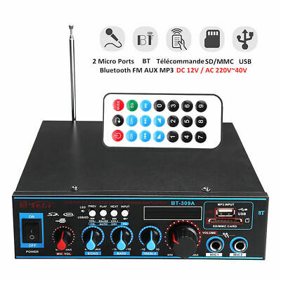 800W bluetooth Stereo Audio Verstärker Car Home HiFi Musik SD USB FM 12V/220 DE