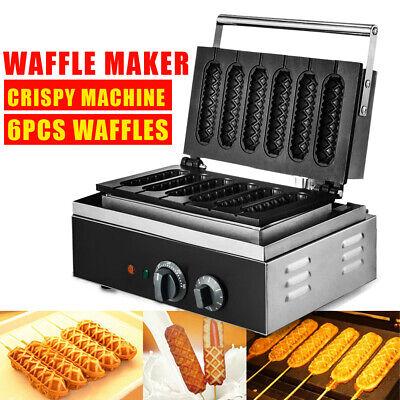 Electric Corn Dog Waffle Making Machine 6 Pc Non-stick Hot Dog Maker Equipment