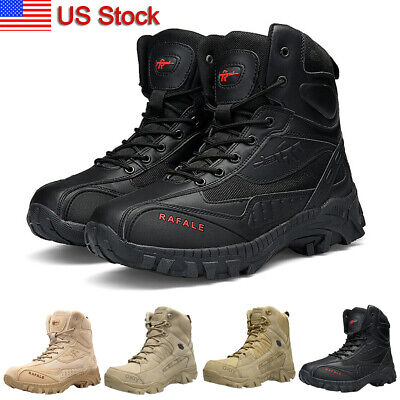 Men's Military Tactical Boots Side-Zip Combat Army Shoes Hiking Duty Work Boots
