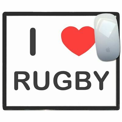 I Love Heart Rugby - Thin Pictoral Plastic Mouse Pad Mat Badgebeast
