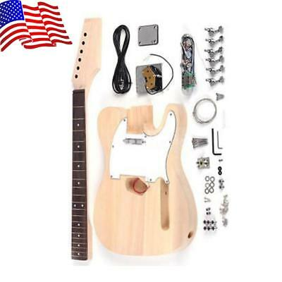 New DIY Luthier Unfinished TL Style Electric Guitar Kit 6 Strings Maple Neck
