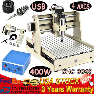 4 Axis Cnc3040 Router Engraving Usb 400w 3d Woodworking Milling Drilling Machine