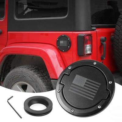 Fuel Filler Door Gas Cover Cap For Jeep Wrangler 07-18 JK Black 2/4Dr US Flag