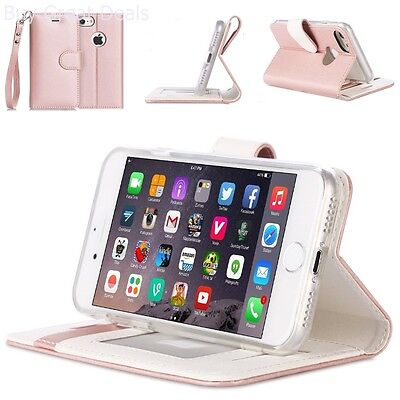 Case Cover Kickstand W/ Credit Card Wallet RFID Blocking For iPhone7 Rose Gold
