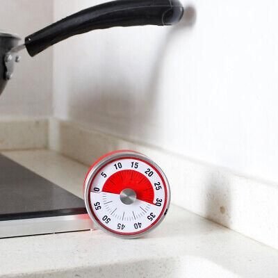 Baldr Mechanical Kitchen Timer Round Magnetic Backing Fridge Stainless 8CM RED