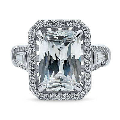 BERRICLE Sterling Silver Radiant Cut CZ Statement Halo Engagement Ring 8.56 CTW