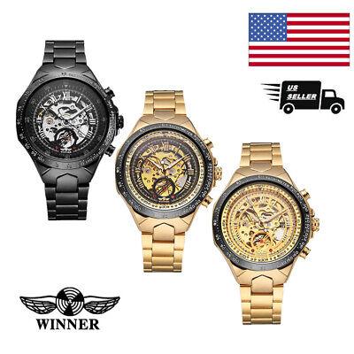 WINNER Mens Automatic Mechanical Skeleton Wrist Watch Steel Stainless Band O8V4 - Skeleton Wrist