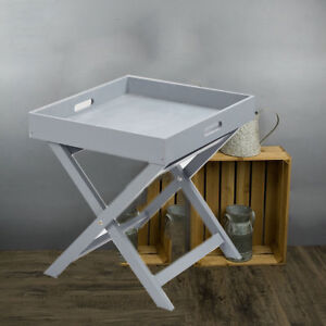Wooden Tray Butler Table Grey White Serving Folding grey