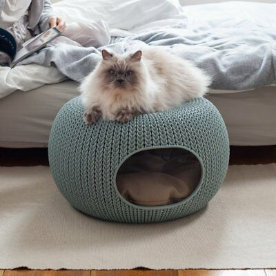 Keter Knit Style Cozy Nesting Small-Sized Pet Bed (Cat/Dog) in Sky Blue