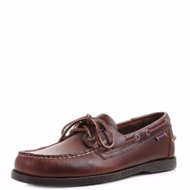 Mens Sebago Dockside Brown Oiled Waxy Leather Deck Boat Shoes Size UK 8.5